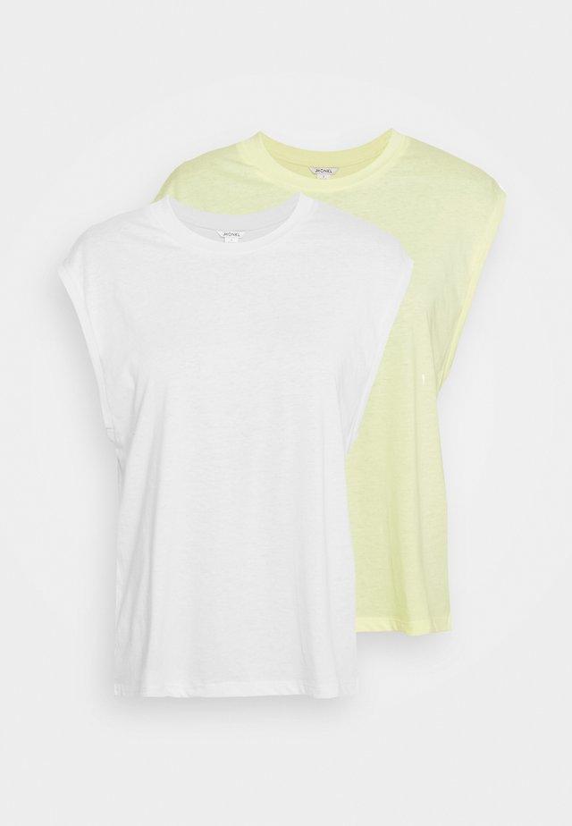 CHRIS 2 PACK - Camiseta básica - yellow light/white