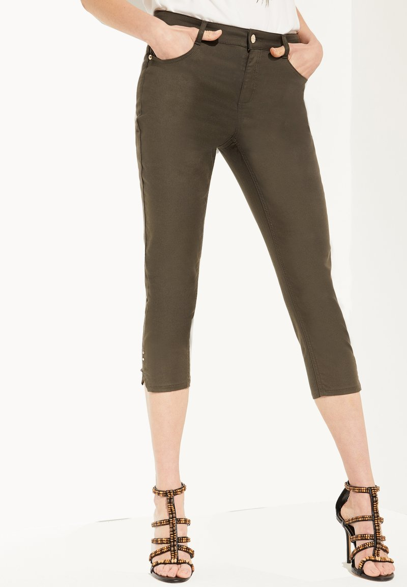 comma - CAPRI AUS TWILL - Trousers - khaki