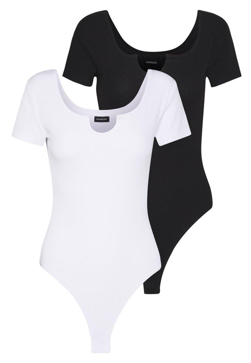 Even&Odd - OPENING SHORT SLEEVES 2 PACK - Camiseta básica - white/black