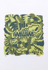 WAWWA - JUNGLE LOGO UNISEX - Print T-shirt - white/lime - 2