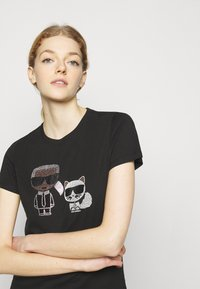 KARL LAGERFELD - IKONIK RHINESTONE  - Print T-shirt - black - 3