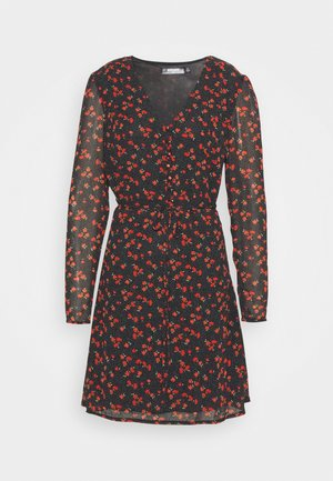 HALF BUTTON TEA DRESS FLORAL - Shirt dress - black