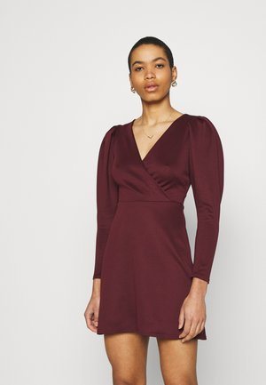 LONG SLEEVE SKATER DRESS - Jersey dress - burgundy