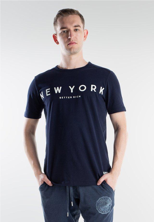 NY - Print T-shirt - navy