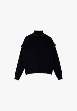 WITH RUCHING - Jumper - black