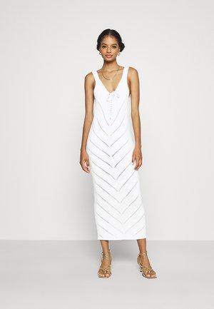TIE FRONT MIDAXI CROCHET DRESS - Strikket kjole - white