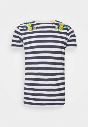 FENNEL - Print T-shirt - navy/white