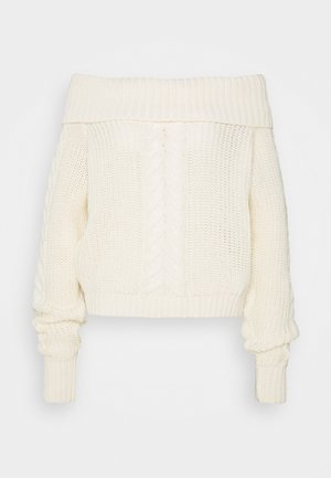 BARDOT CABLE CROP JUMPER - Pullover - cream