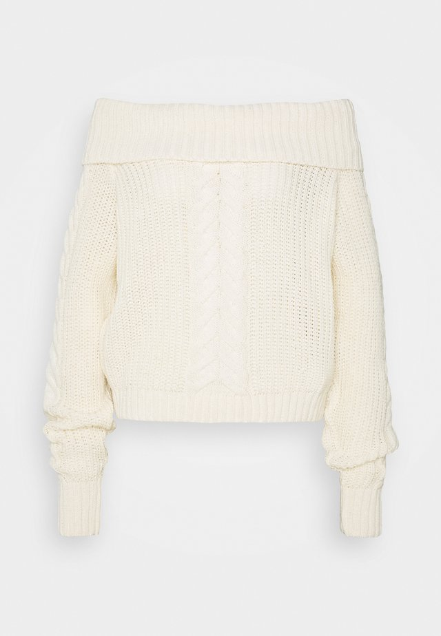 BARDOT CABLE CROP JUMPER - Svetr - cream