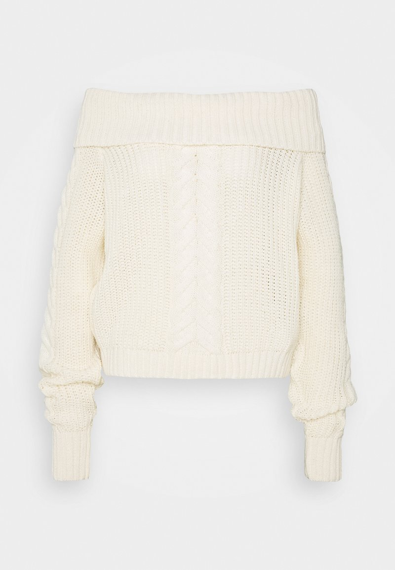 Missguided Tall - BARDOT CABLE CROP JUMPER - Pullover - cream