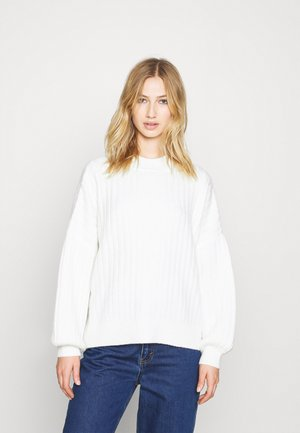 OVERSIZED WIDE RIB JUMPER - Jersey de punto - off-white