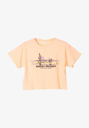 Print T-shirt - neon peach