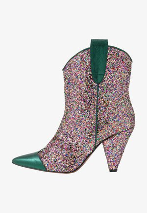 High heeled ankle boots - eclat green/multicolor