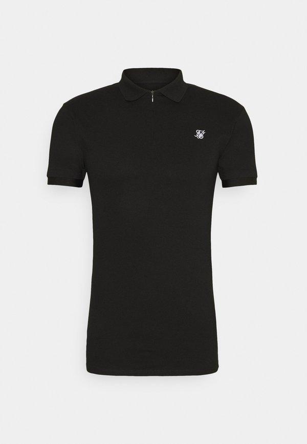 SIKSILK INSET CUFF STRETCH - Koszulka polo - black/czarny Odzież Męska CYUN