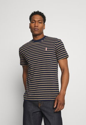 STRIPED - Print T-shirt - navy-mel