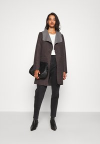 JDY - JDYSANNA DRAPY CARCOAT - Short coat - dark grey melange - 1