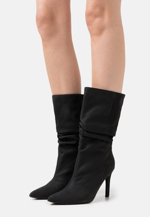 RUCHED STILLETO BOOTS - Boots - black