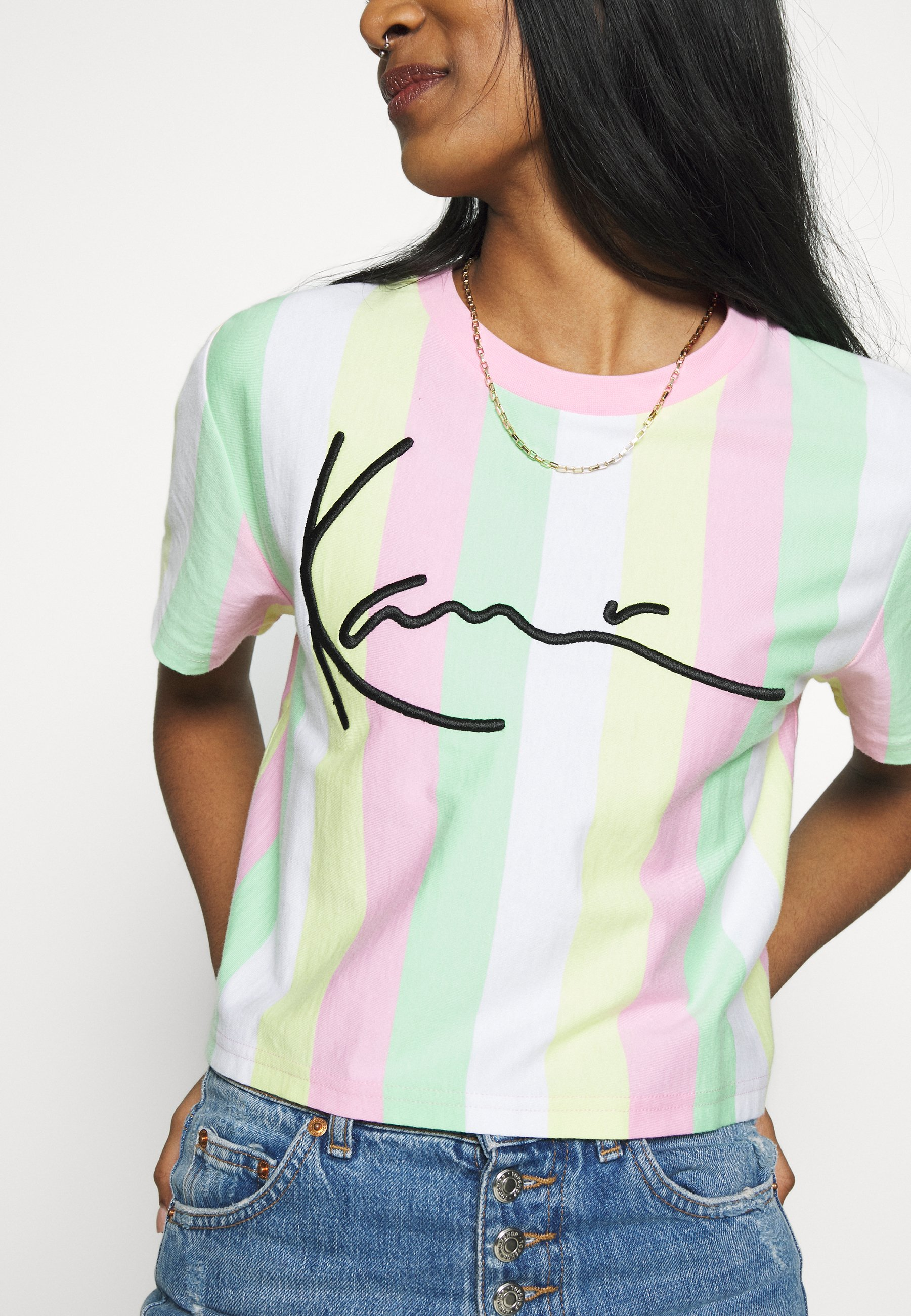 Karl Kani Signature Stripe Tee - T-shirts Med Print Green/white/pink/yellow/flerfarget