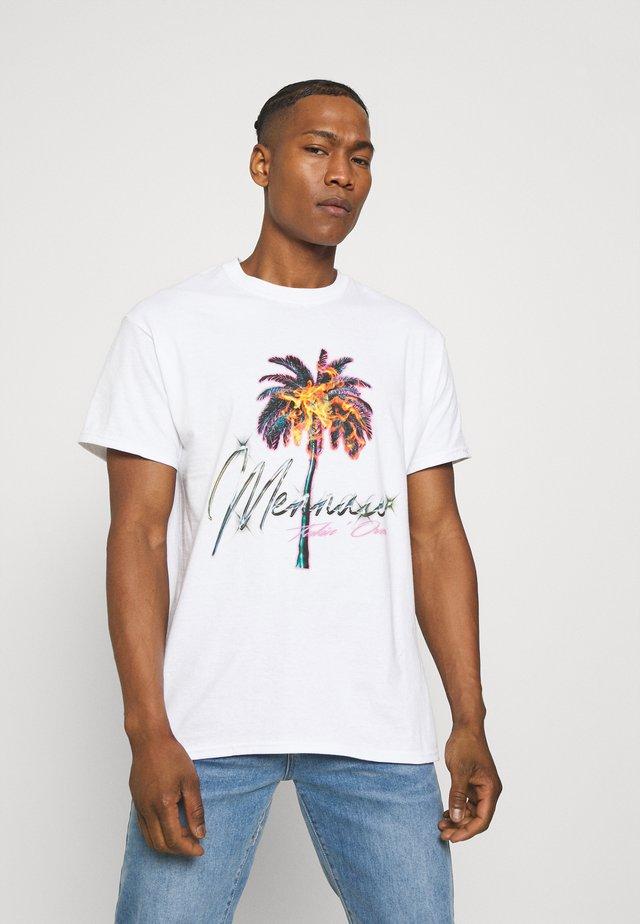 BURNING PALM REGULAR - T-shirt con stampa - white