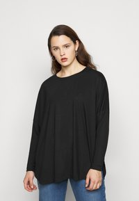 CAPSULE by Simply Be - CURVED HEM LONG SLEEVE - T-shirt à manches longues - black - 2
