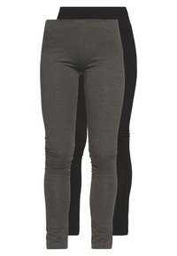Even&Odd - 2 PACK - Leggings - black/mottled dark grey - 0