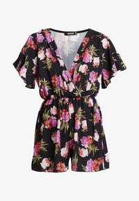Missguided - WRAP OVER KIMONO SLEEVE PLAYSUIT - Combinaison - black - 3