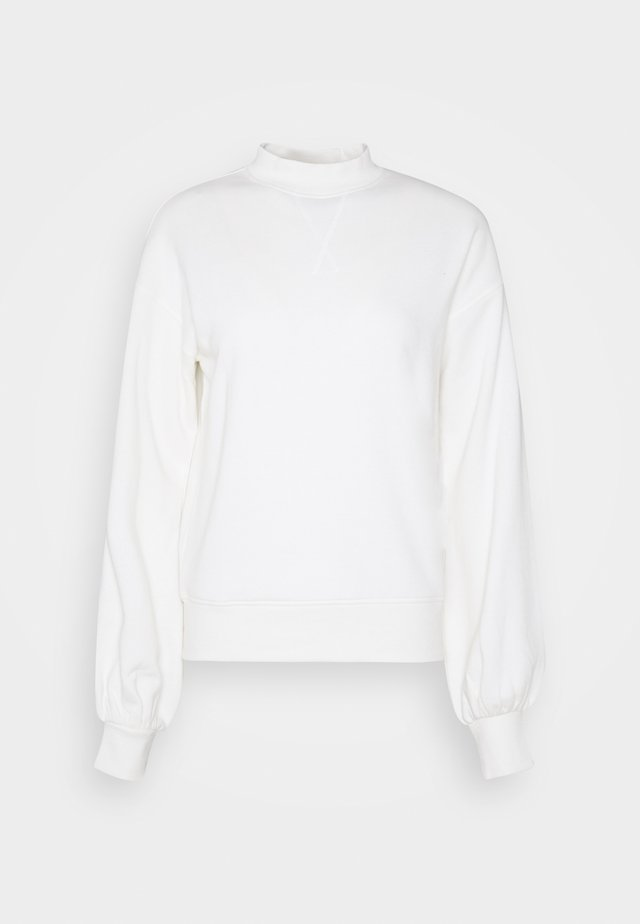 High Neck Puff Sleeve Sweatshirt - Sweatshirt - off-white