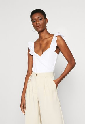 FRILL STRAP BODYSUIT - Top - white