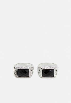 SQUARE STONE SIGNET 2 PACK - Anillo - silver-coloured