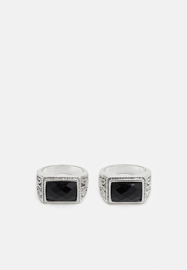 SQUARE STONE SIGNET 2 PACK - Ring - silver-coloured