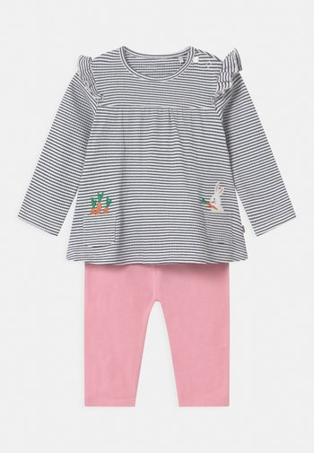 SET - Leggings - Trousers - dark blue/light pink