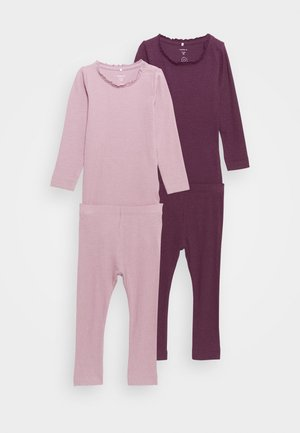 NBFROSEMARIE SET 2 PACK - Leggings - Trousers - italian plum/deauville mauve