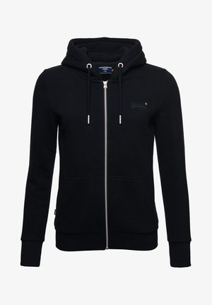 ORANGE LABEL ZIP HOODIE - Zip-up hoodie - black