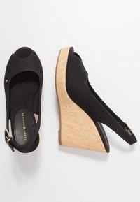 Tommy Hilfiger - ICONIC ELENA SLING BACK WEDGE - High heeled sandals - black - 3
