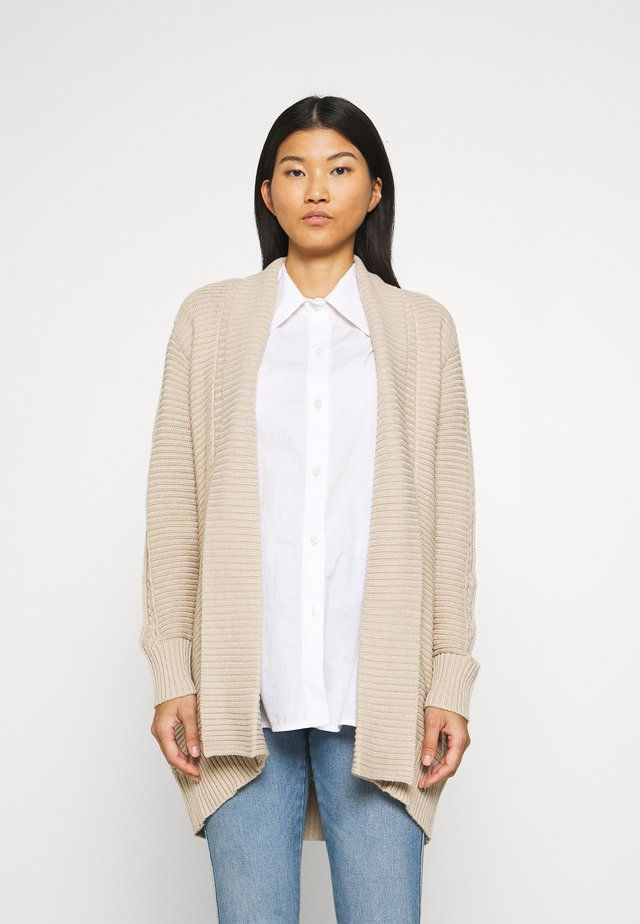 THICK SHAWL CARDIGAN - Kardigan - dark tan melange