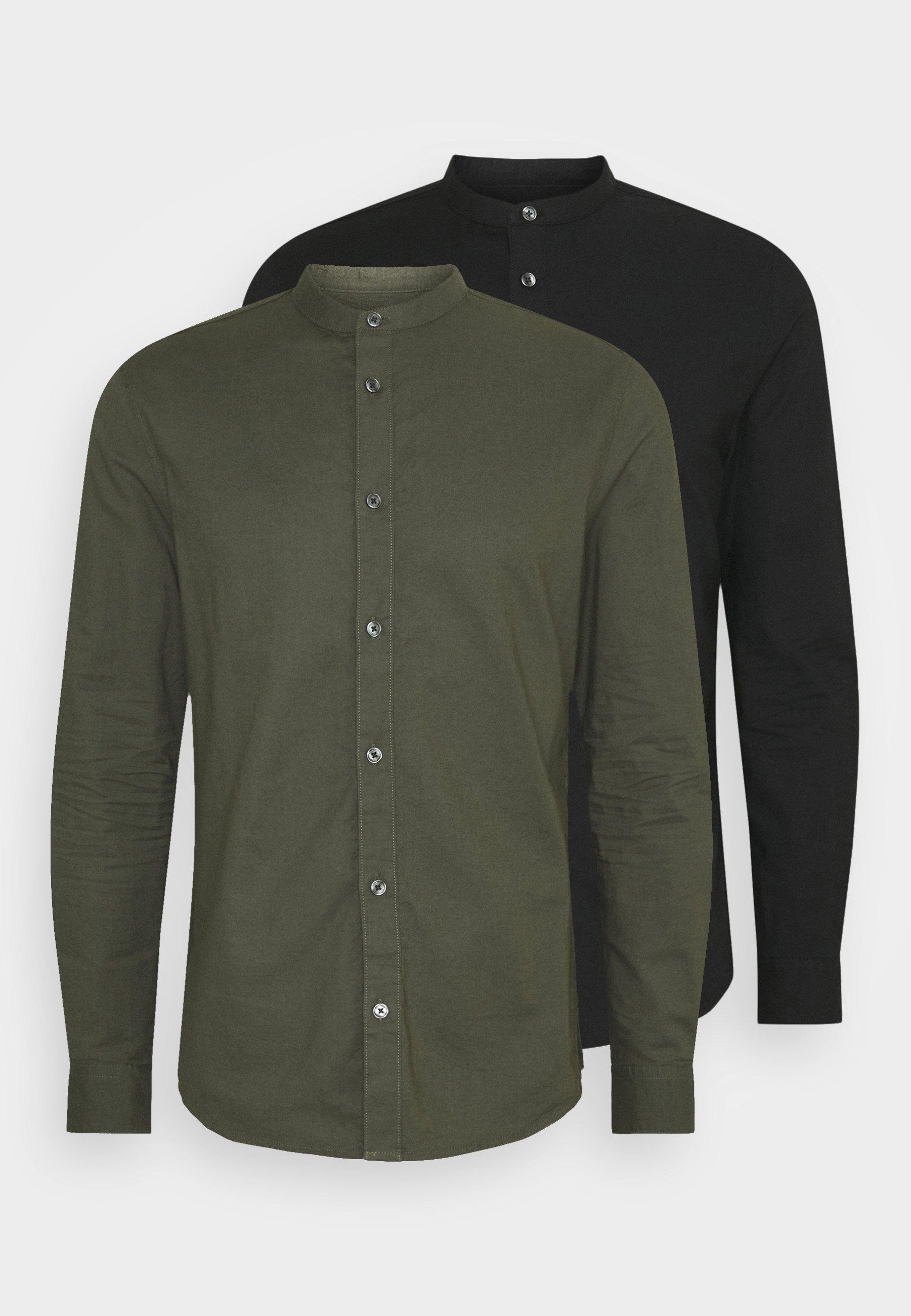 Men LONG SLEEVE OXFORD GRANDAD 2 PACK - Shirt