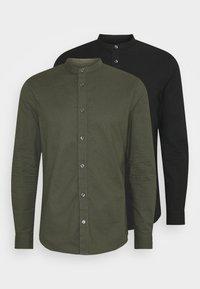 Burton Menswear London - LONG SLEEVE OXFORD GRANDAD 2 PACK - Shirt - black/karki - 0