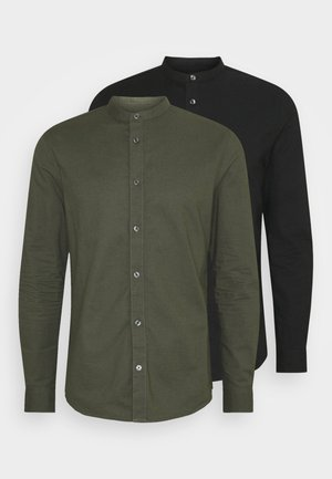 LONG SLEEVE OXFORD GRANDAD 2 PACK - Shirt - black/karki