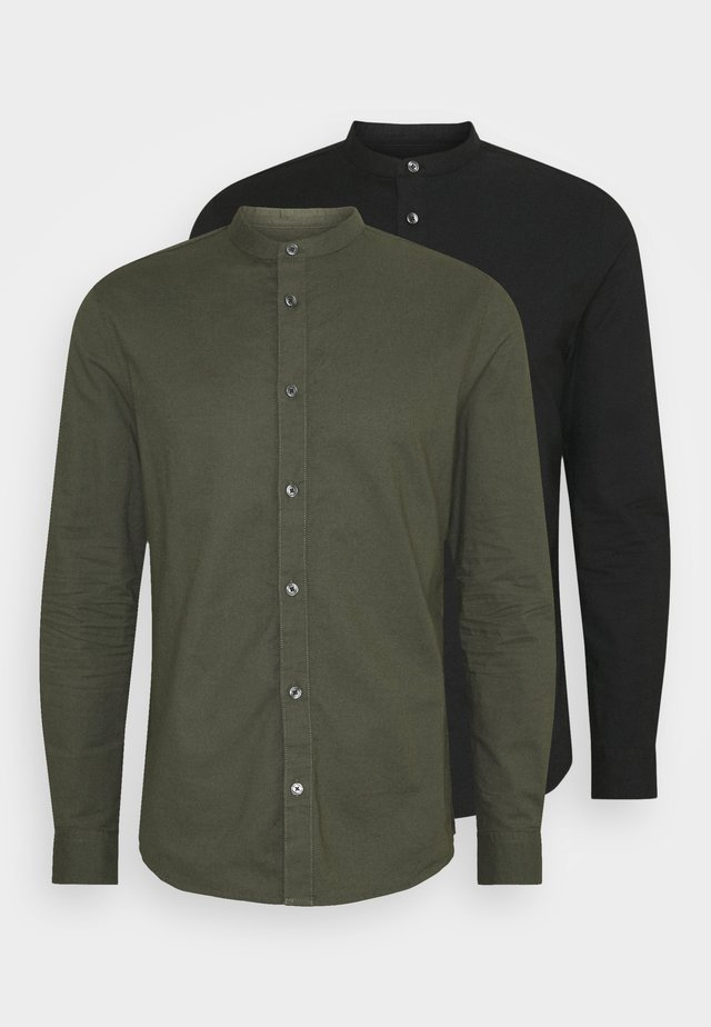LONG SLEEVE OXFORD GRANDAD 2 PACK - Skjorte - black/karki