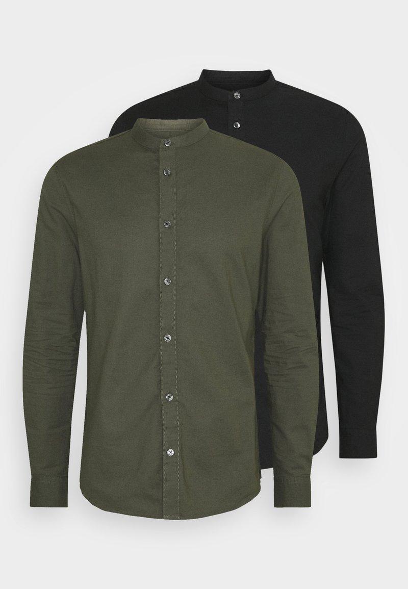 Burton Menswear London - LONG SLEEVE OXFORD GRANDAD 2 PACK - Shirt - black/karki