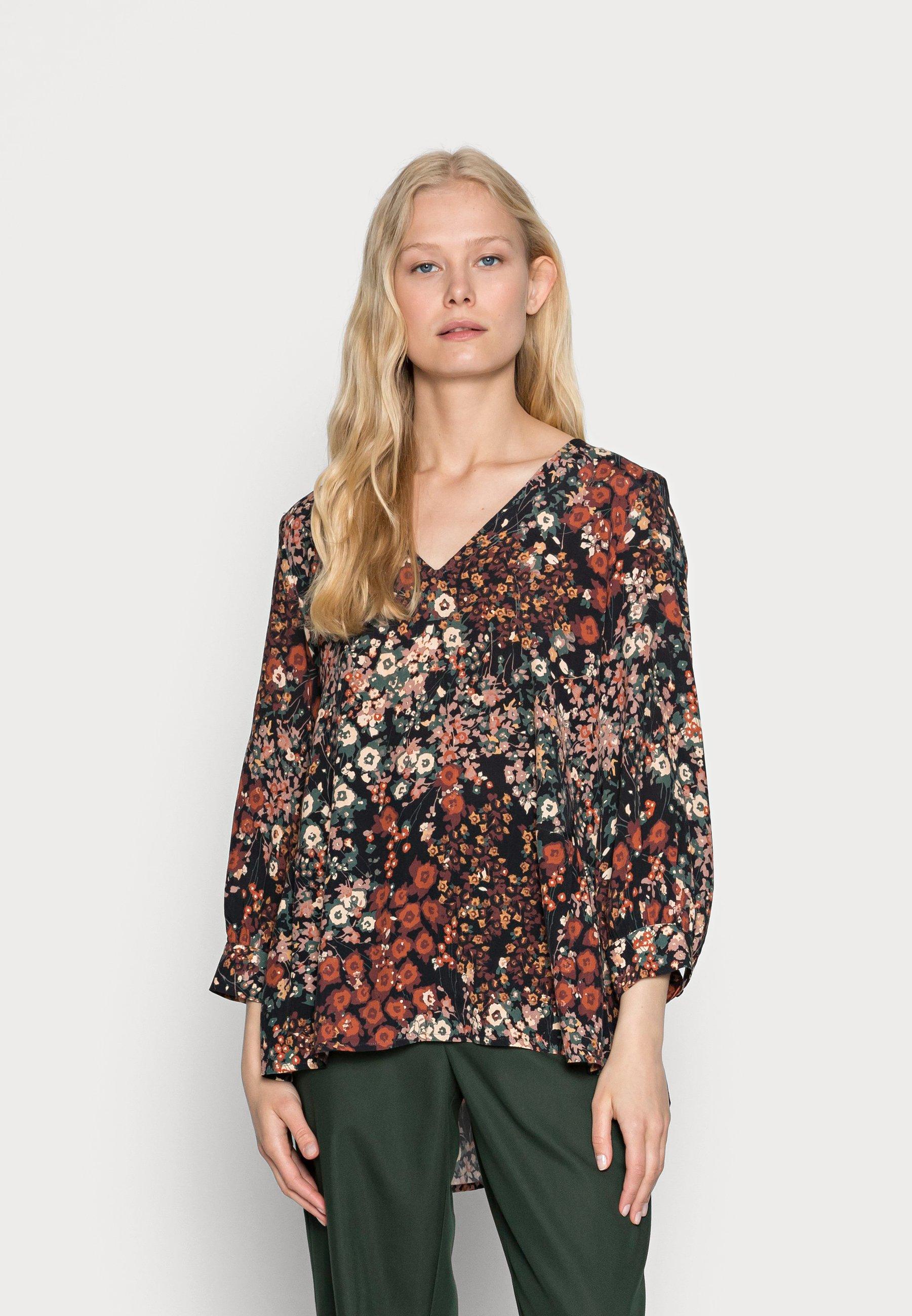 Women FLOWER BLOUSE - Long sleeved top - black