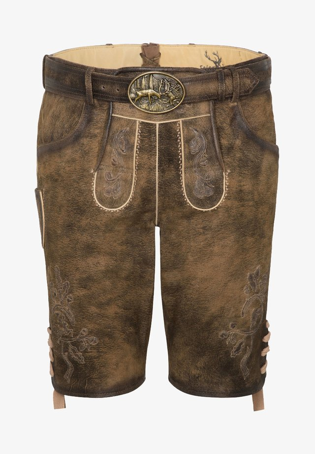 HAVEL - Leather trousers - brown