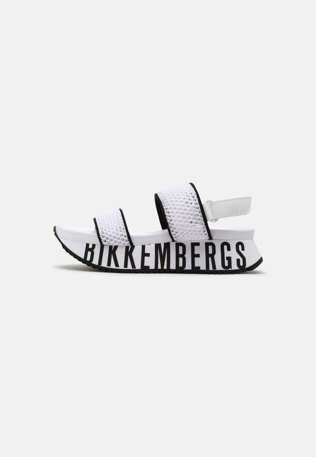 REBECA - Platform sandals - white/black