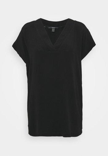 BLOUSE SOLID - Basic T-shirt - black