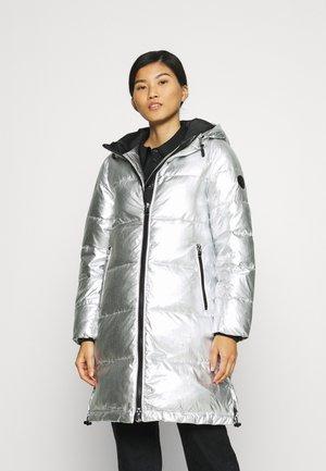 METALLIC LONG COAT - Winter coat - silver