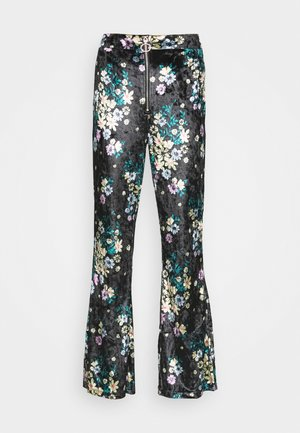 ZIP FRONT FLARE TROUSERS - Trousers - black / velvet