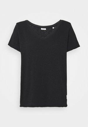 SHORT SLEEVE V NECK - Basic T-shirt - black