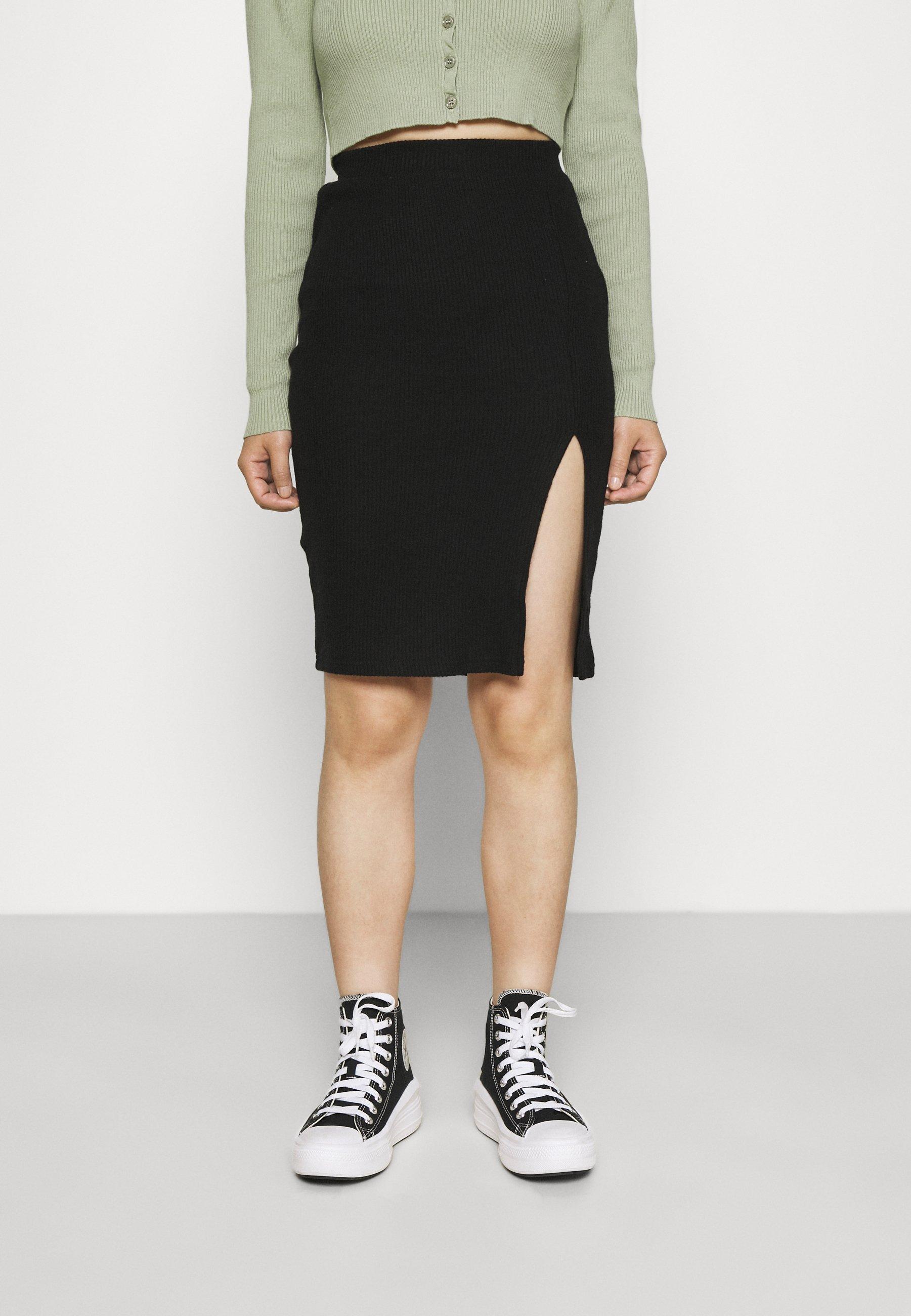Women MIDI SKIRT WITH SLIT - Pencil skirt