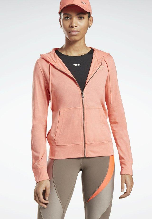 REEBOK IDENTITY JERSEY ZIP UP HOODIE - veste en sweat zippée - red
