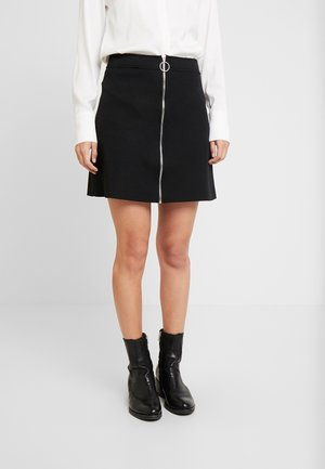 SKIRT WITH FRONT ZIPPER - A-linjekjol - deep black